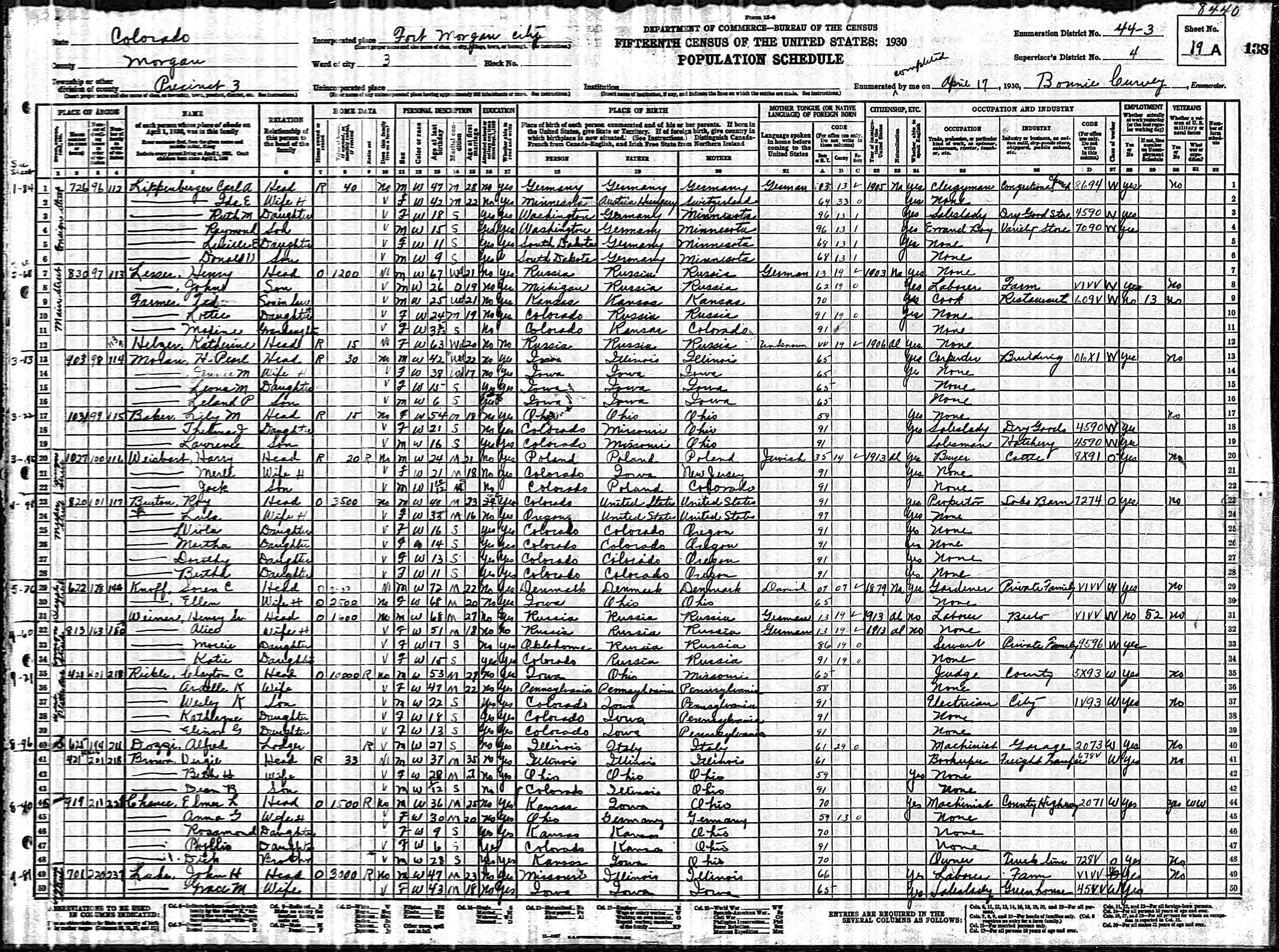 Fort Morgan (CO) United States  city images : 1930 United States Federal Census Fort Morgan, Morgan, Colorado